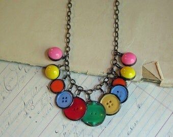 Color Pop Soldered Button Necklace  One of a Kind Jewelry Summer Fun!