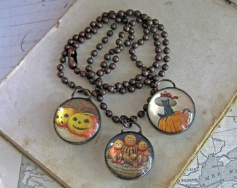 Halloween Necklace  Glass Bubble Soldered Jewelry