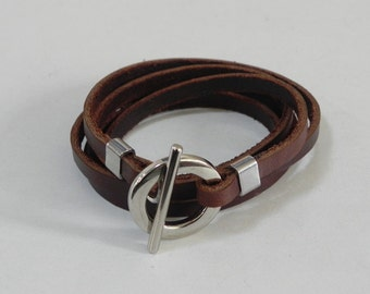 Wrap Leather Bracelet Leather Cuff Bracelet with Metal Toggle Clasp in brown