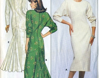 Vintage 80s Butterick 4111 Misses Fish Tail Hem Evening Dress Sewing Pattern Sizes 12 Bust 34