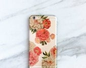 Peony Clear iPhone Case Pink Peonies iPhone 7, 6s, 6, Plus, Floral Peony Bunch, Gift For Her