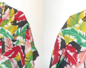 80s Dude Shirt Rasta Feathers Palm Leaves Pattern Short Sleeve ButtonDown Oxford Top Luau Cabana Hawaiian Tiki Punk Big Lebowski Black Green