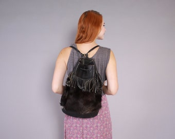 70s LEATHER BACKPACK / 1970s Custom Cowhide Black & White Fur Fringed Backpack Purse