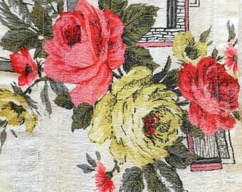 Vintage Barkcloth Roses Valance