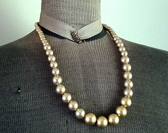 Vintage Gold Plastic Bead Necklace