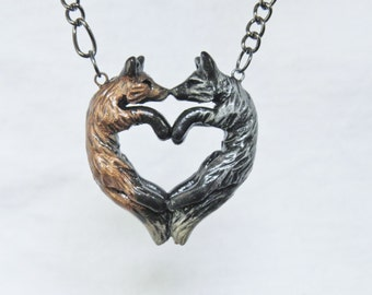 Fox Love Necklace Red Silver Couple Heart Polymer Clay