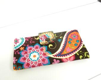 Fabric Checkbook Cover, Holder - Coco Spree Paisley