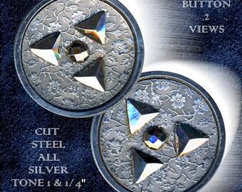 Button--Mid-19th C. Trefoil Diamond Cut Steels on Floral Wallpaper Steel Cup