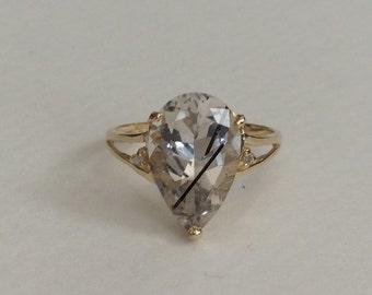 Tourmalated Quartz and diamond 10k ring