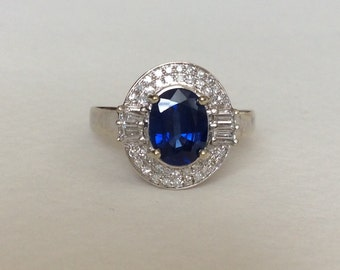 Sapphire and diamond 14k white gold halo ring art deco