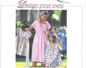 Simplicity 9521 UNCUT Girls Design Your Own Dress Sewing Pattern Sizes 7,8,10,12 Backless Sundress