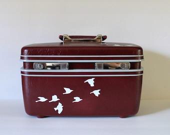 VINTAGE samsonite TRAINCASE with hand painted birds/vintage luggage/vintage travel/wedding card box/wedding decor/traincase/luggage