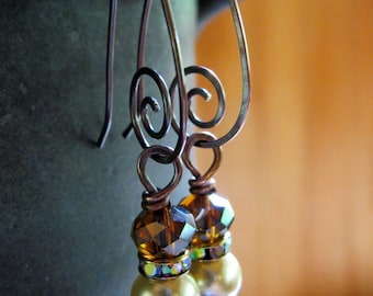Pearls and Swirls Earrings - Copper Spiral Hoops with Pearl and Amber Czech Beads - Dangle Earrings - Stacked Beads - BOHO - Gypsy