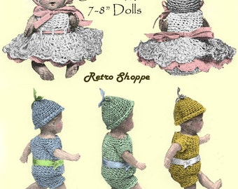 """Vintage 1920's Sixpence Mini 7"""" - 8"""" Doll Crochet Patterns Eight Pieces"""