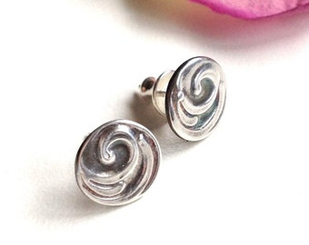 Teacher Gift Idea-Silver Spiral Jewelry-Hand Stamped Earrings-Stud Post Jewelry-Fine Silver Metal-Gifts for Her