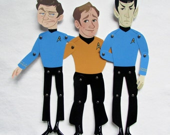 SALE Triumvirate Bones, Jim and Spock: Assembled, Articulated Paper Dolls Star Trek TOS The Original Series Handmade Posable Paperdoll