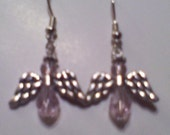 Angle Earrings Pink glass Crystal Beads and Metal wings and halo Hand made in USA