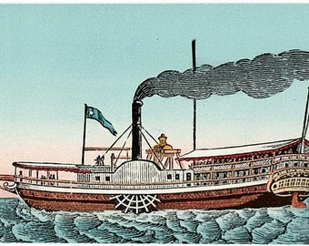 Antique Vermont Postcard - The Vermont ... First Steamboat on Lake Champlain (Unused)