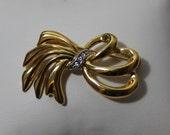 Vintage Bow Brooch With Rhinestones