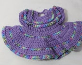 Vintage Hand Crocheted Baby Dress Wall Hanging, Trivet, Violet & Multi Colored