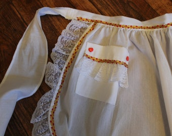 Vintage White Half Apron, Red and Gold Trim