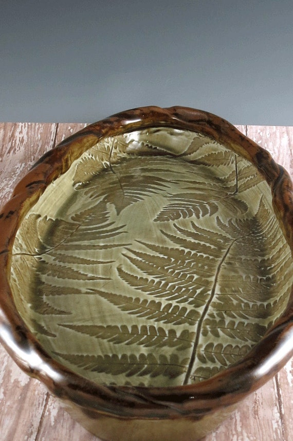 Large ceramic serving tray pottery fish platter nature for Fish serving platter