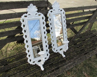 Upcycled Mirror Candle Sconce Set of 2