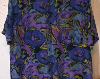 Vintage 80s 90s Silk Shirt by Kooool, Bright Purple  Blue Designs