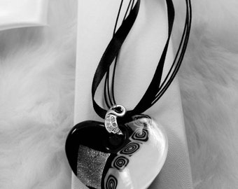 16.5 in Black and White Foil Glass Heart Necklace with Swan Rhinestone Bail, Ribbon and Cord, Iron Findings, with 2in chain extension