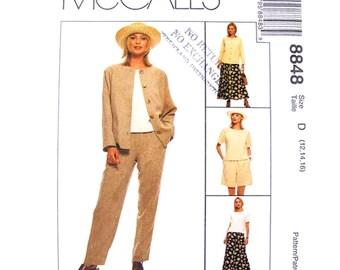 Unlined Jacket, Top, Pants, Shorts, Flared Skirt Pattern McCalls 8848 Woman Size 12 14 16 Sewing Pattern UNCUT