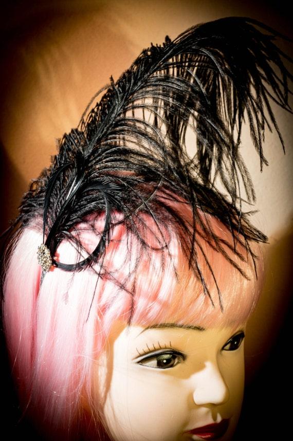 Black Ostrich Burlesque Bridal Feather Hair fascinator headband Saloon Girl headdress clip