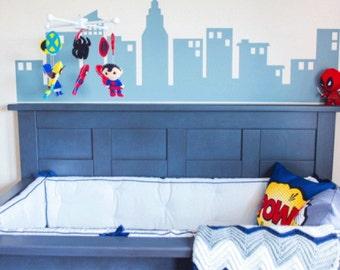 Superhero Wall Decal Etsy - Superhero vinyl wall decals