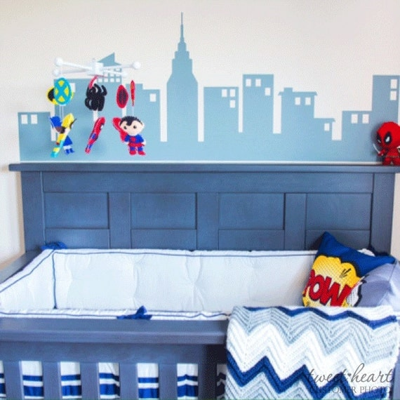 Superhero City Boys Wall Decals Super Hero Decals Childrens - Superhero wall decalssuper hero wall art etsy