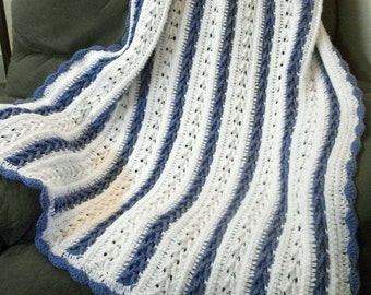 Blue and White Crocheted Throw Blanket with Free US Shipping by DRCrafts