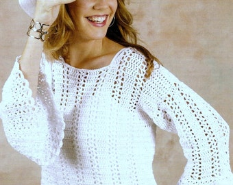 Vintage Crochet Pattern  Summer Sweater  Lace Beach Cover Up Pullover Boho Festival