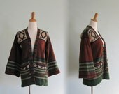Vintage Southwestern Sweater in Lambswool - Awesome 70s Boho Cardigan by Porter House - Vintage 1970s Cardigan S M