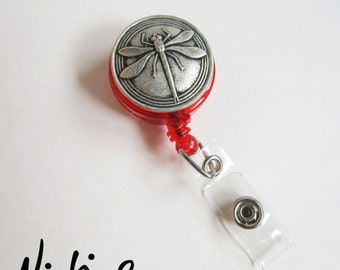 Red Retractable ID Badge Holder - Large Pewter Dragonfly