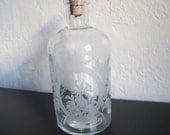 Vintage French Floral Etched Bottle perfume bottle