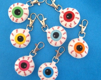Halloween Charms - Eyeball Keychain - Eyeball Charm - Halloween Party Favors - Creepy Bag Charm - Halloween Keychain