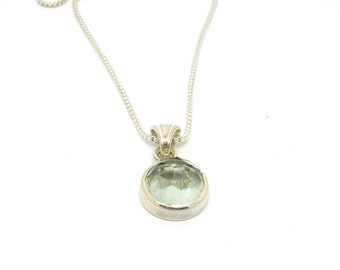 Rose Cut Green Quartz Necklace // Prasiolite Gemstone Pendant // Sterling Silver