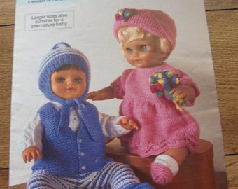 vintage knitting pattern Peter gregory doll clothes pattern 12-22 inches boy girl doll
