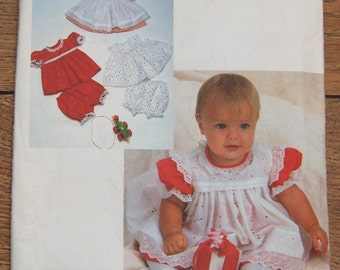 vintage 1985 McCalls pattern 2306 infants baby dress pinafore or sundress and panties sz NB-S-M-L (14lbs - 32 lbs) uncut