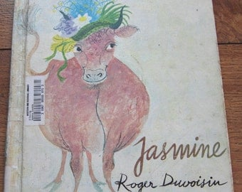 Vintage 70s picture book JASMINE by Roger Duvoisin children illustrated picture book cow boy girl