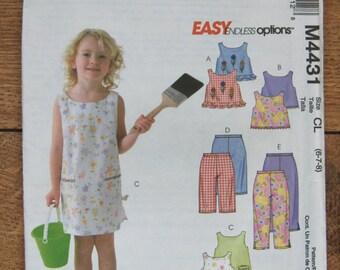 2004 McCalls pattern 4431 girls dress tops pants sz 6-7-8 uncut