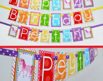 Rainbow Unicorn Birthday Party Banner Fully Assembled Decorations