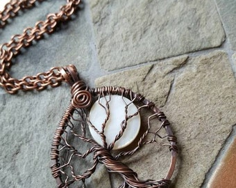 Tree Of Life Moon Pendant Necklace - Antique Copper - Mother Of Pearl - Wire Wrapped