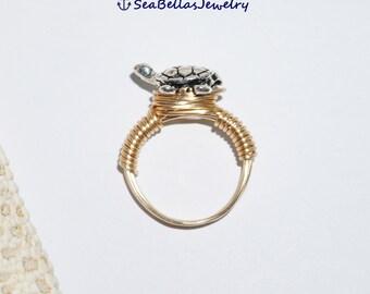 Gold- Silver Turtle Wire Wrapped Ring Artistic non tarnish wire ,little sea turtle, tortuga
