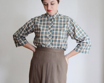 1950s/1960s Plaid Button Up Blouse - M