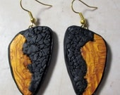 Polymer Clay Earrings, Gold & Black Textured Polymer Clay Earrings, Polymer Clay Earrings, Handmade, Gift for Her, Textured, Jewelry