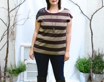 Striped Shirt, Striped T Shirt, Womens Tops, Unique Shirts, Brown T Shirt, Fashion Tops, Summer Tops, T Shirts Women, Handmade Shirts